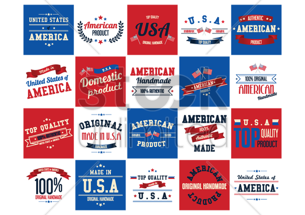 made in usa labels and poster set vector graphic