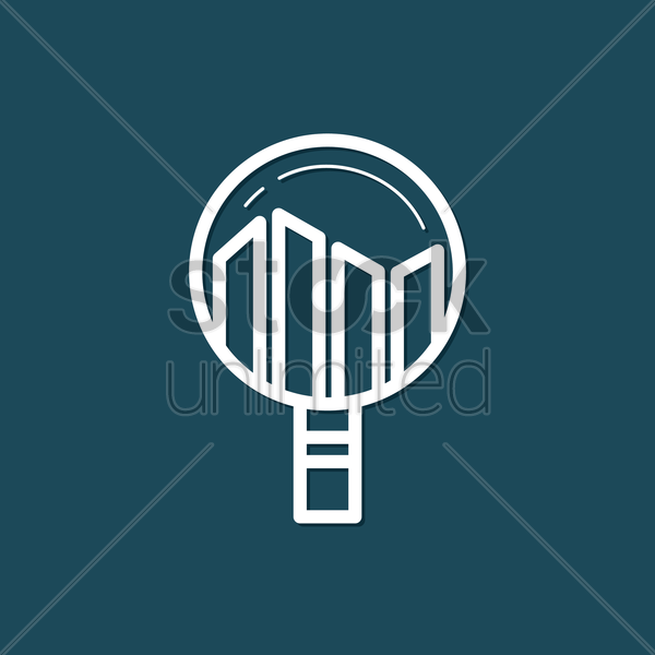 Free magnifying glass with bar graph vector graphic