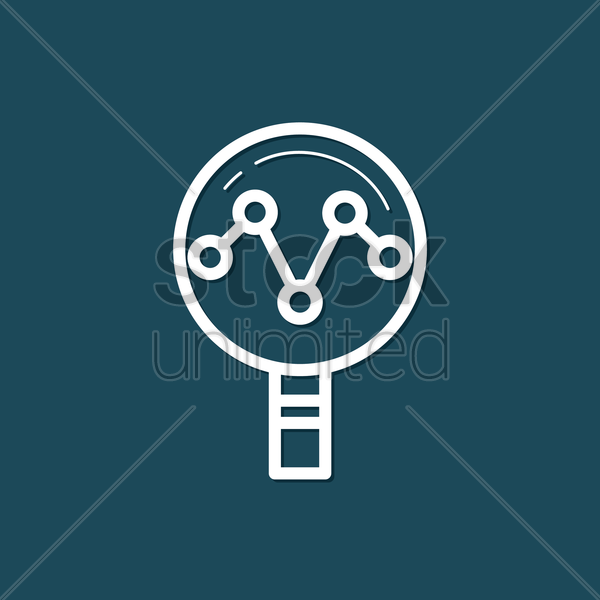 Free magnifying glass with graph vector graphic