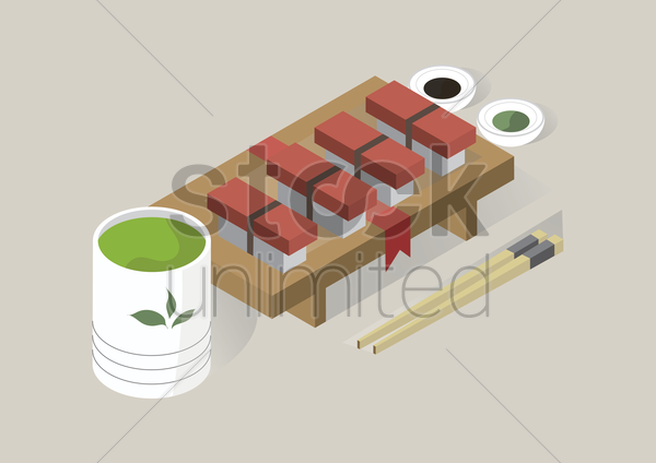 maguro sushi with sauces vector graphic