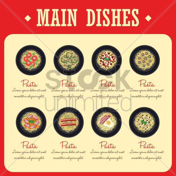 main dishes menu design collection vector graphic