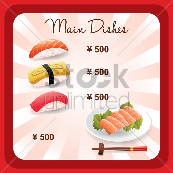 main dishes menu design vector graphic