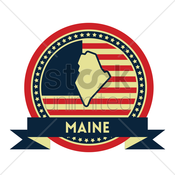 Free maine map label vector graphic