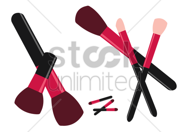 make up brushes on white background vector graphic