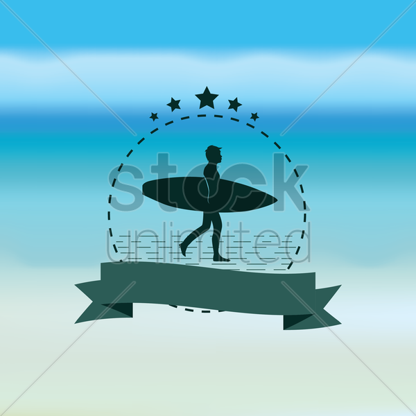 man and surfboard with banner vector graphic