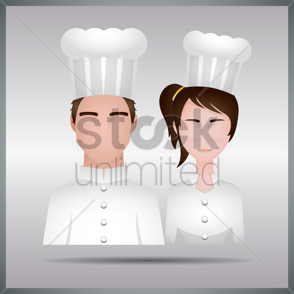 man and woman chef vector graphic