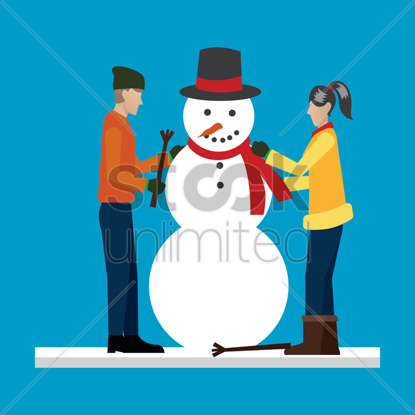 man and woman making a snowman vector graphic