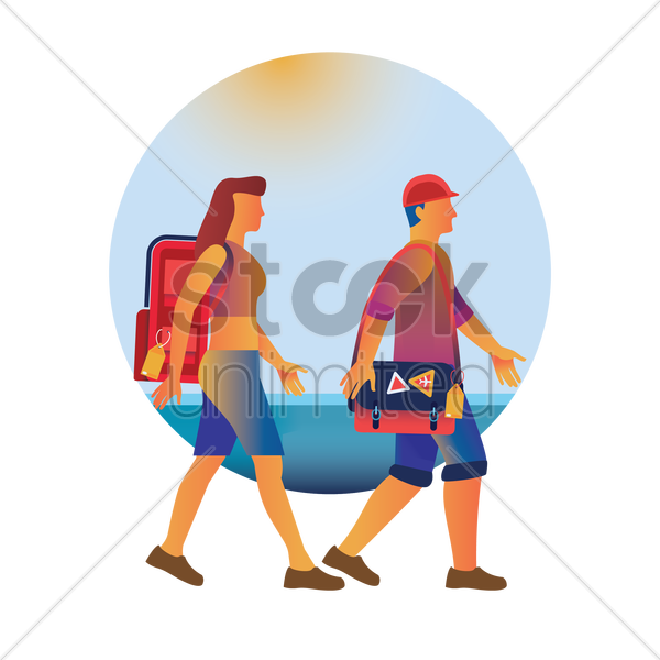 man and woman travelling vector graphic