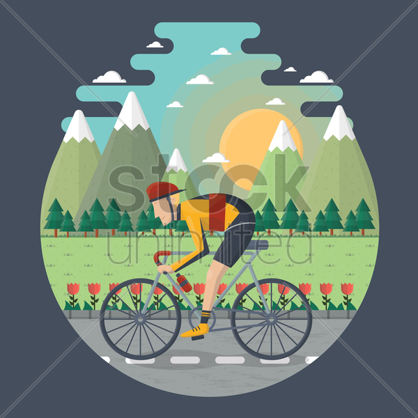man cycling on the road vector graphic