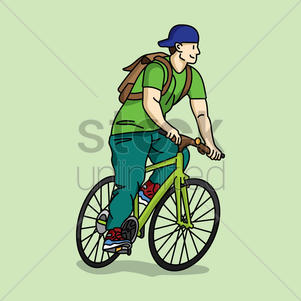 man cycling vector graphic
