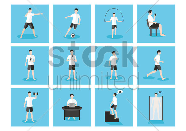 man doing different activities vector graphic