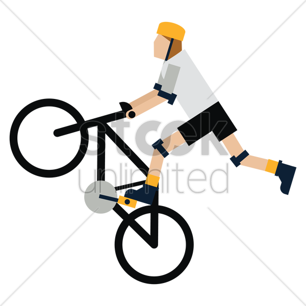 man doing stunt on bicycle vector graphic
