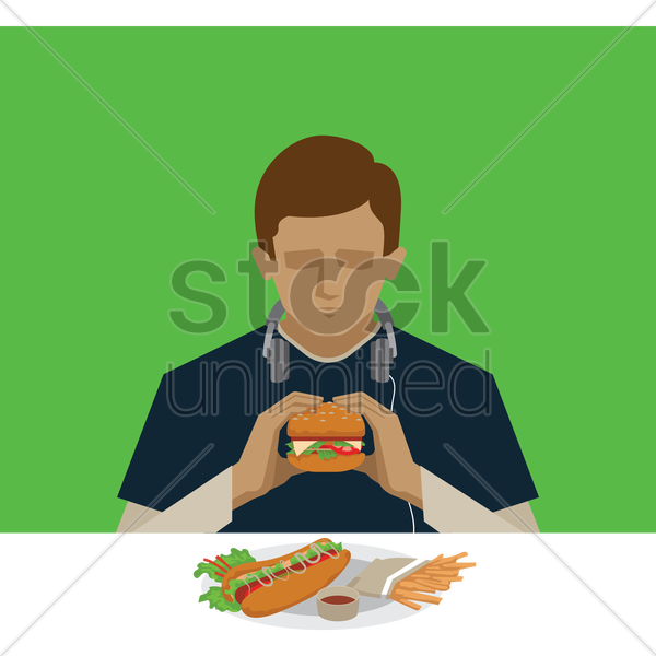 man eating burger vector graphic