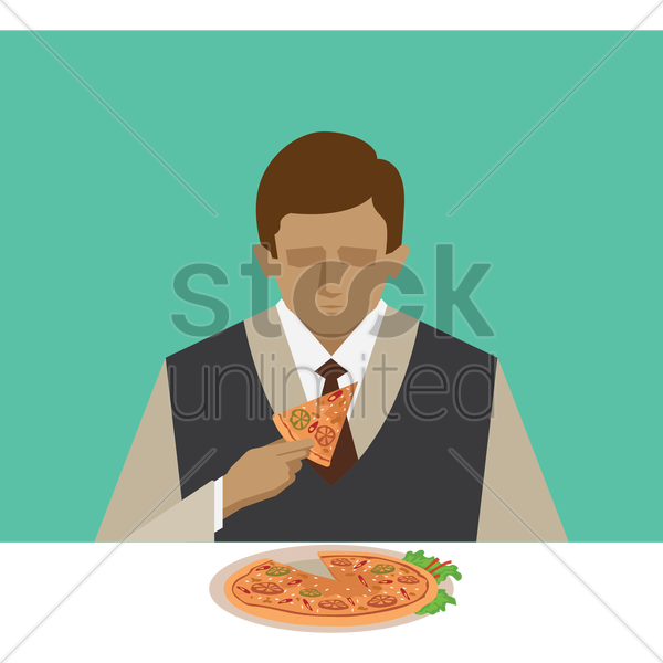 man eating pizza vector graphic