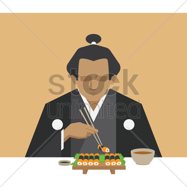 man eating salmon sushi roll vector graphic