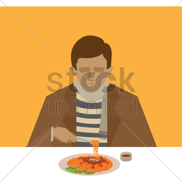 man eating spaghetti vector graphic