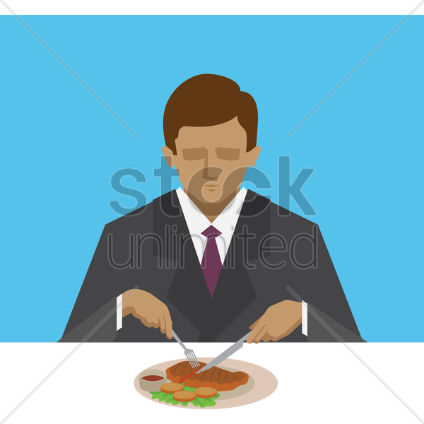 man eating steak vector graphic