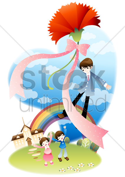 man flying away with flower vector graphic