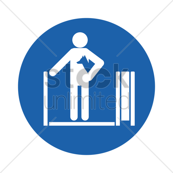 man holding a dog on travelator vector graphic