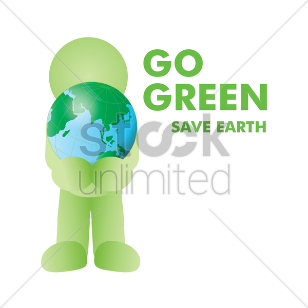 man holding earth vector graphic
