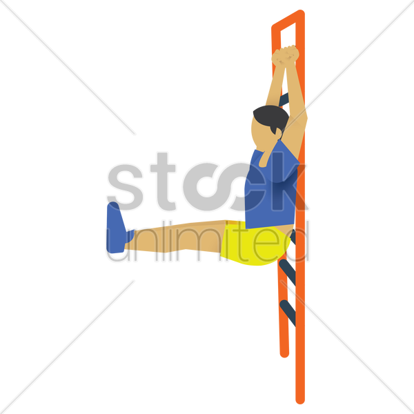 man holding on to a wall bar vector graphic
