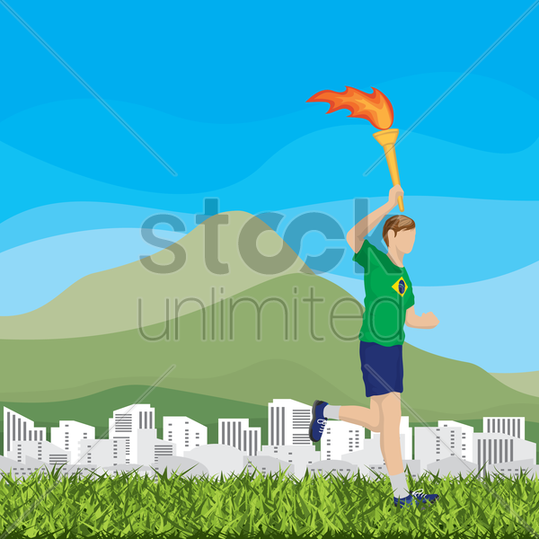 man holding torch vector graphic
