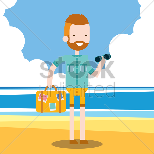 man holidaying on beach vector graphic