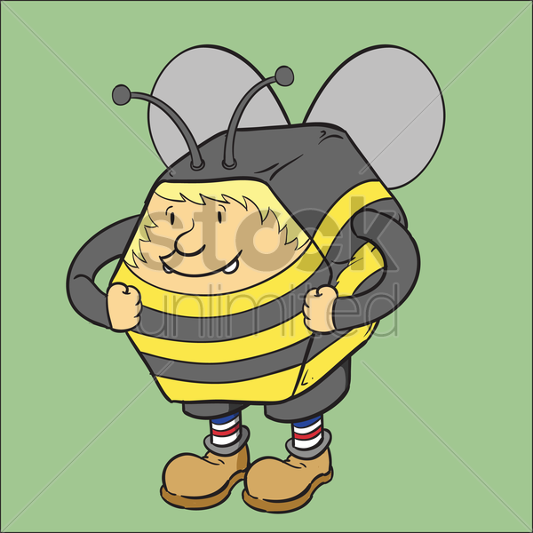 Free man in a bee costume vector graphic