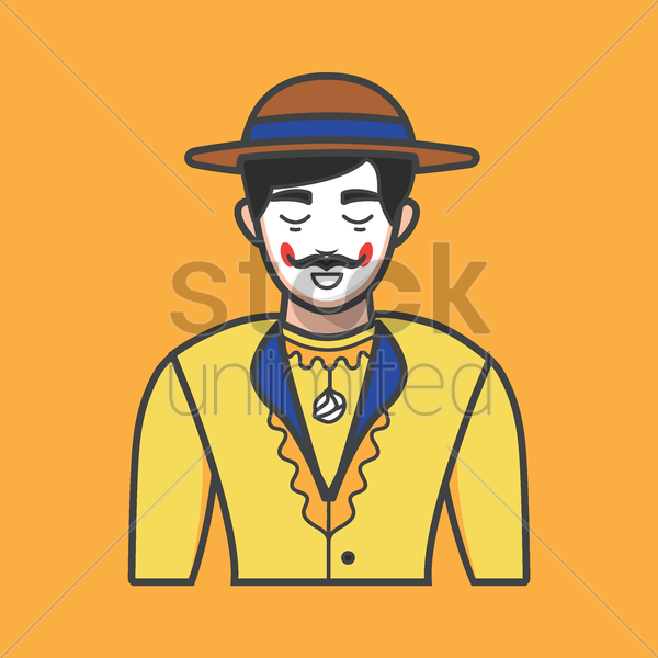 Free man in traditional costume vector graphic