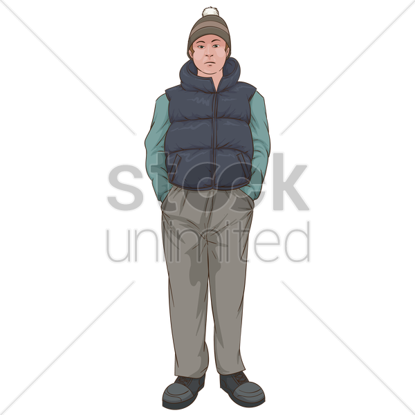 man in warm clothing vector graphic
