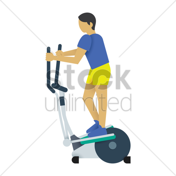 man on an elliptical trainer vector graphic