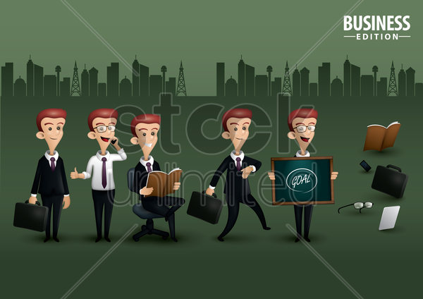 man on business edition poster design vector graphic