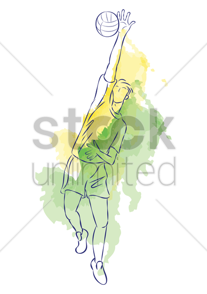 man playing volleyball vector graphic
