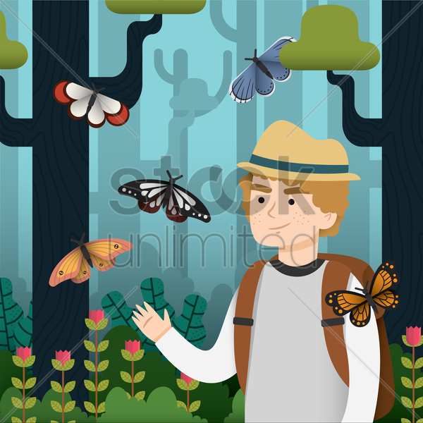 man playing with butterflies in the woods vector graphic