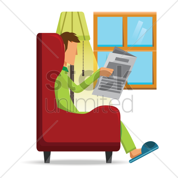man reading newspaper vector graphic