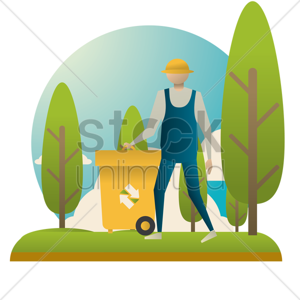 man recycling rubbish vector graphic