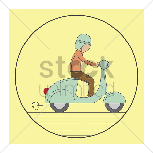 man riding a scooter vector graphic