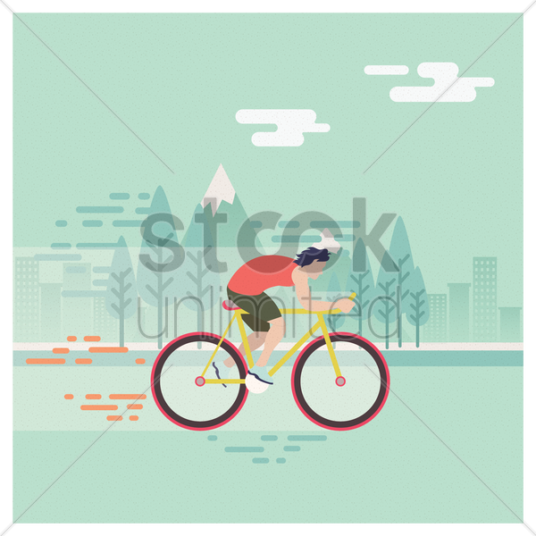 man riding bicycle vector graphic