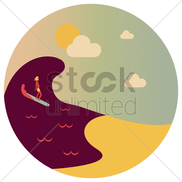 man riding surfboard vector graphic