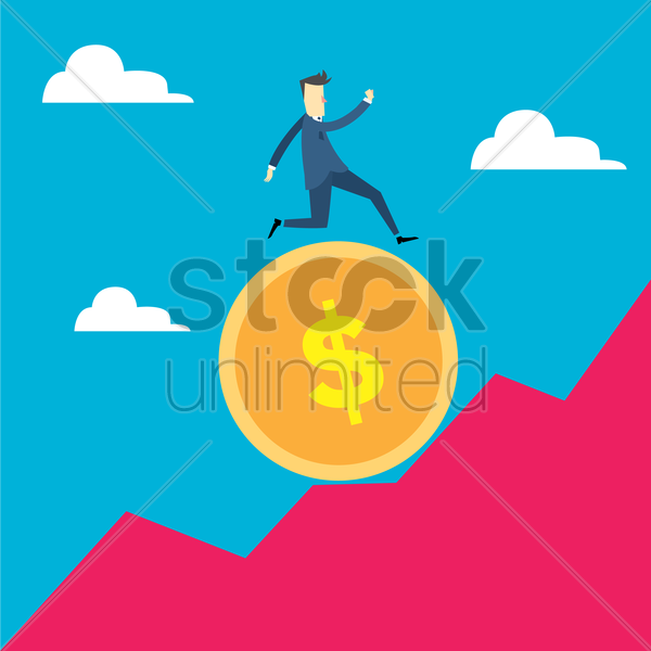 man running on a coin up the hill vector graphic