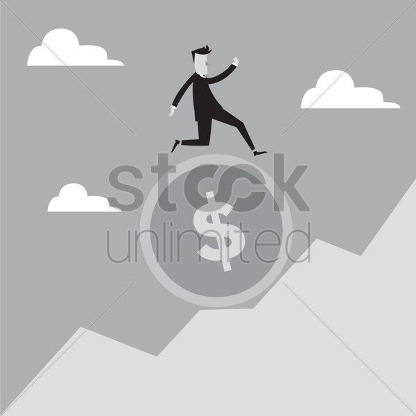 Free man running on a coin up the hill vector graphic