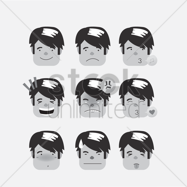 man's many expressions vector graphic