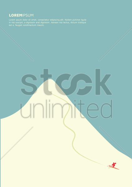 man skiing down mountain slope poster design vector graphic