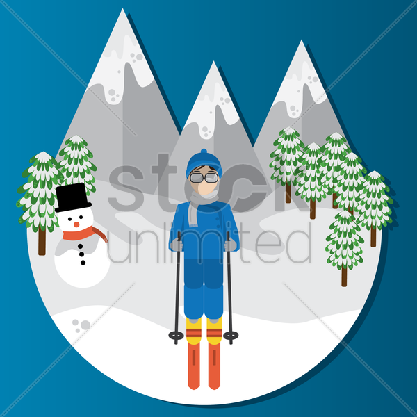 man skiing vector graphic
