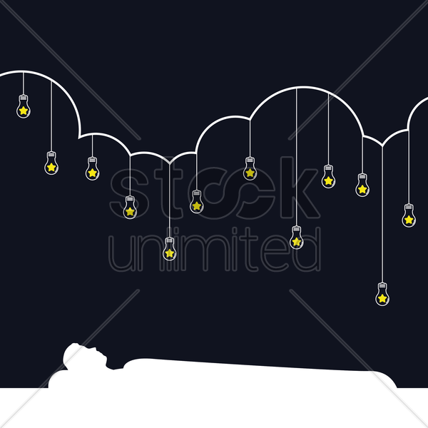 man sleeping under hanging bulbs vector graphic