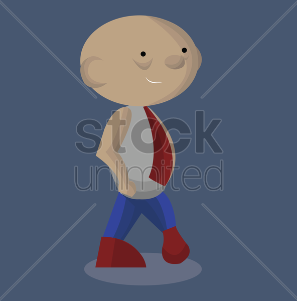 Free man smiling while stretching his leg vector graphic