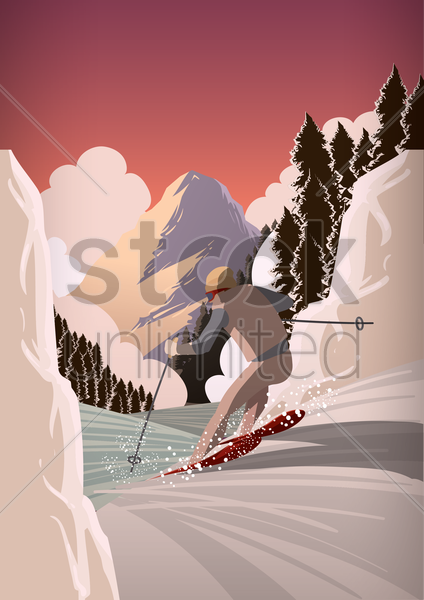 man snow skiing vector graphic