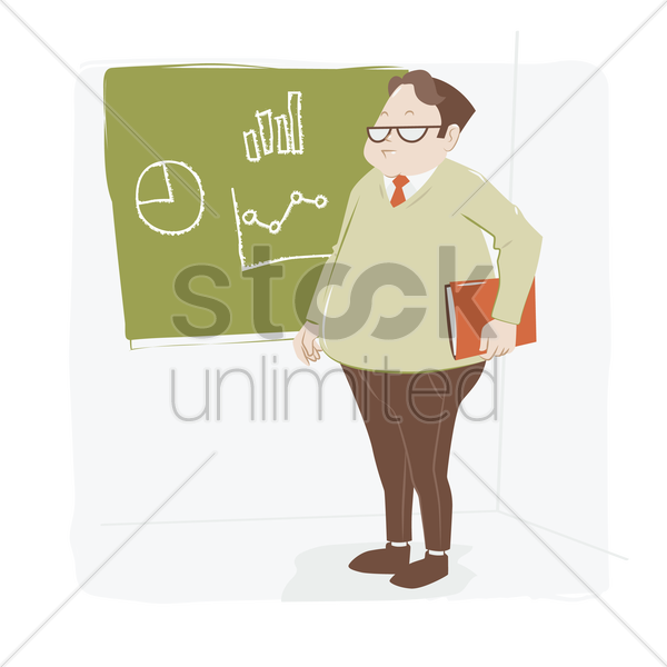 man standing at the blackboard vector graphic