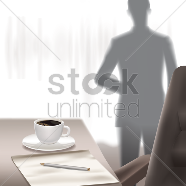 man standing in office room vector graphic