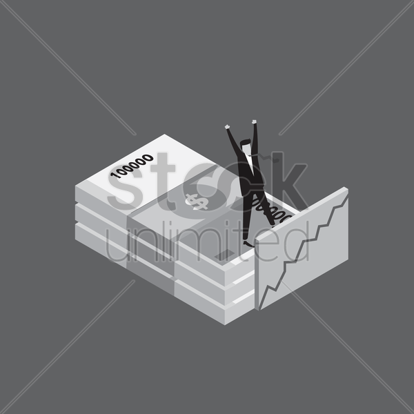 man standing on a stack of money vector graphic